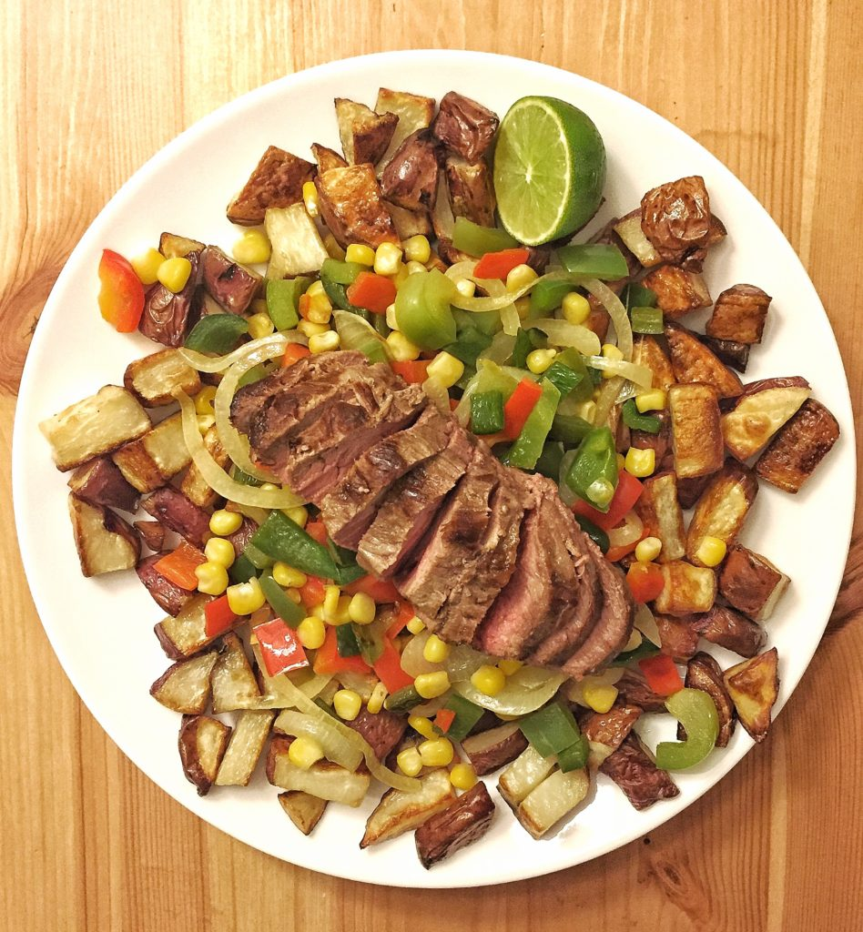 Rose Mattson - roasted potatoes, stir-fried veggies, and steak adobe dinner.