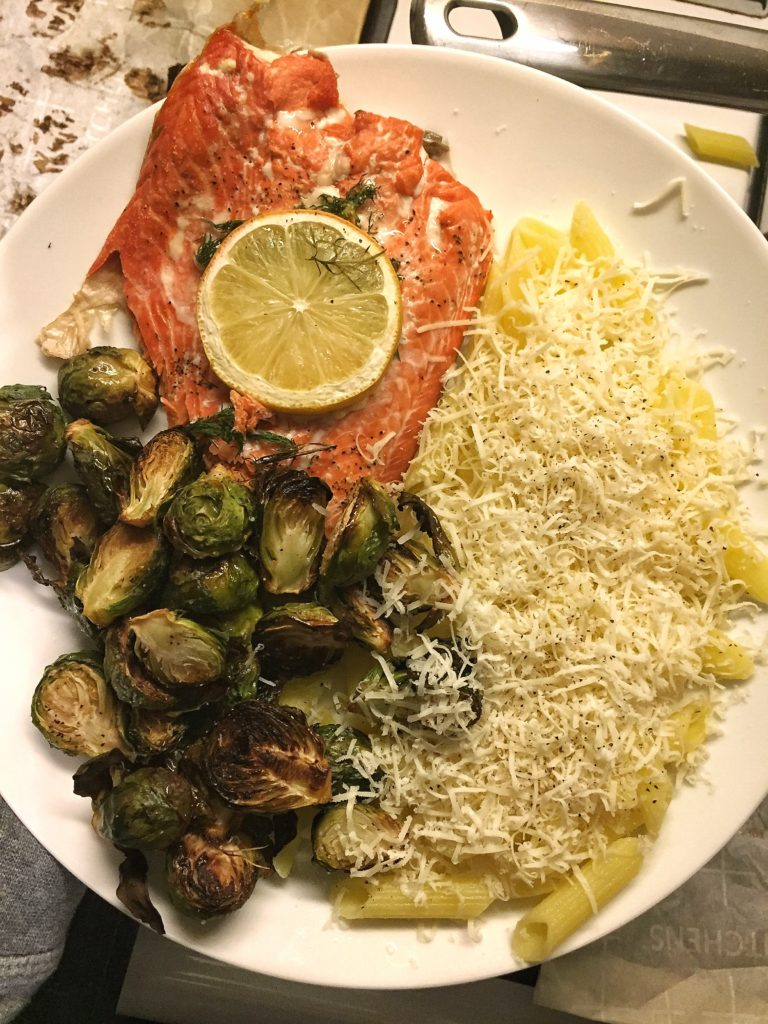 rose mattson - salmon, pasta, brussel dinner